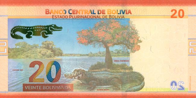 Billete de 20 bolivianos reverso