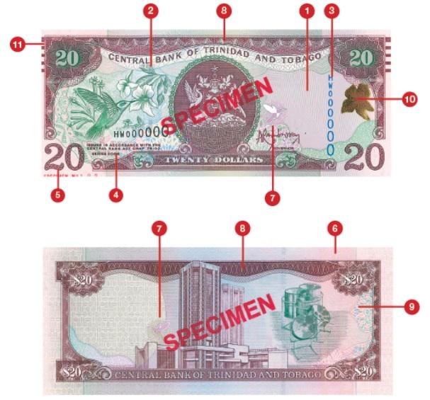 Billete de 20 dólares trinitenses TTD
