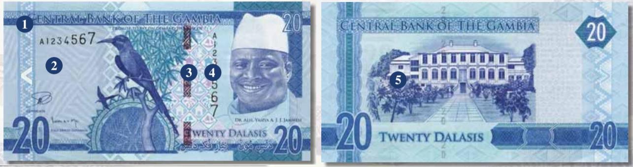 Billete de 20 dalasis de Gambia