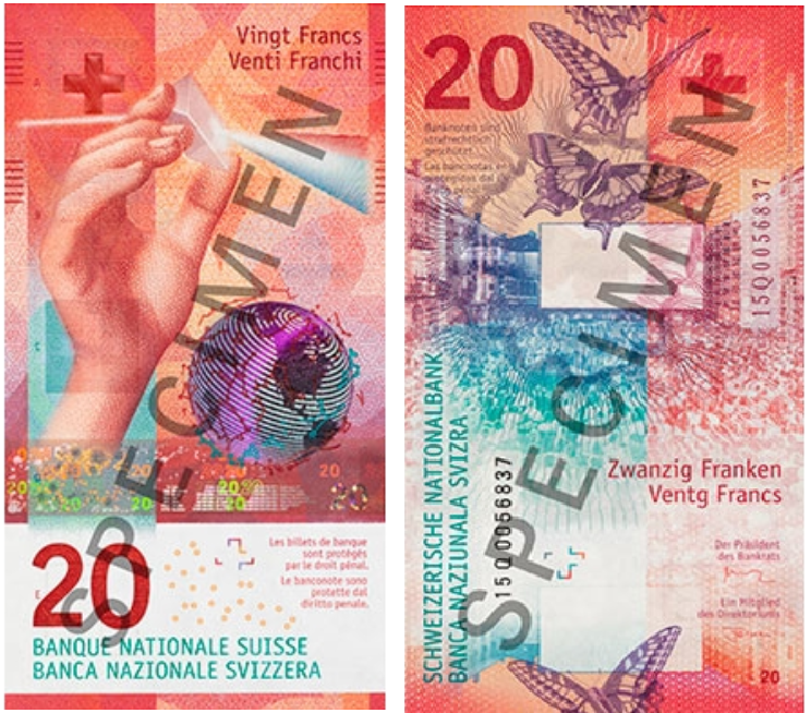 Billete de 20 francos suizos vertical