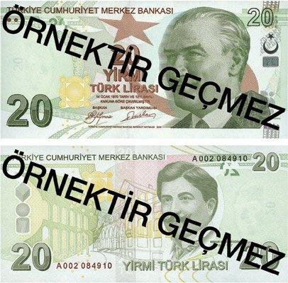 Billete de 20 liras turcas 2019 (20 TRY)
