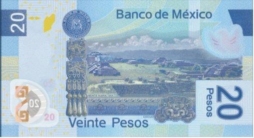 Billete de 20 pesos mexicanos 20 MXN reverso
