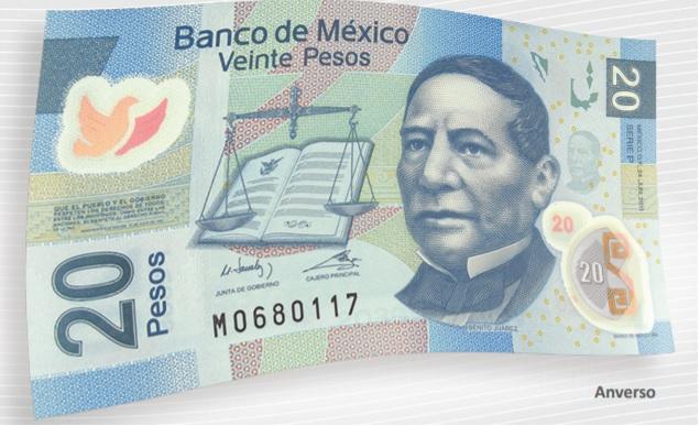 Billete de 20 pesos mexicanos 20 MXN