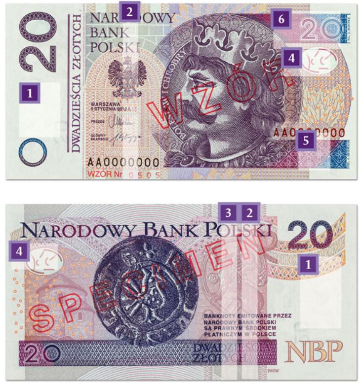 Billete de 20 zloty PLN (2014)con referencias a las marcas de seguridad.