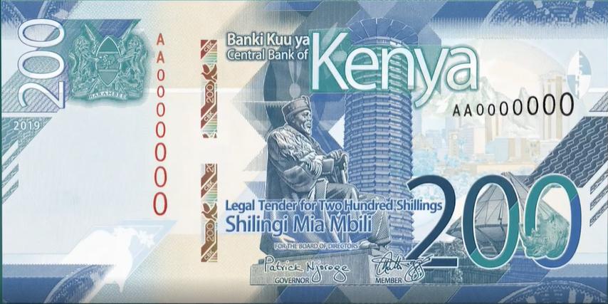 Billete de 200 chelines kenianos anverso