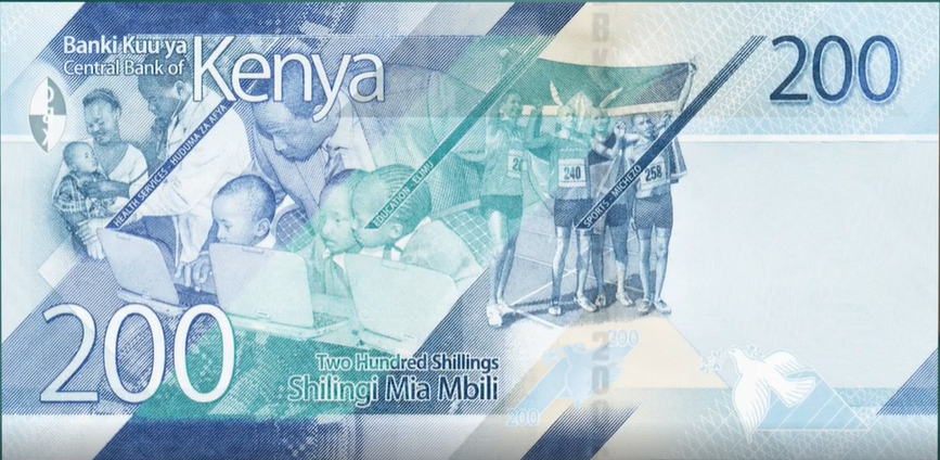 Billete de 200 chelines kenianos reverso