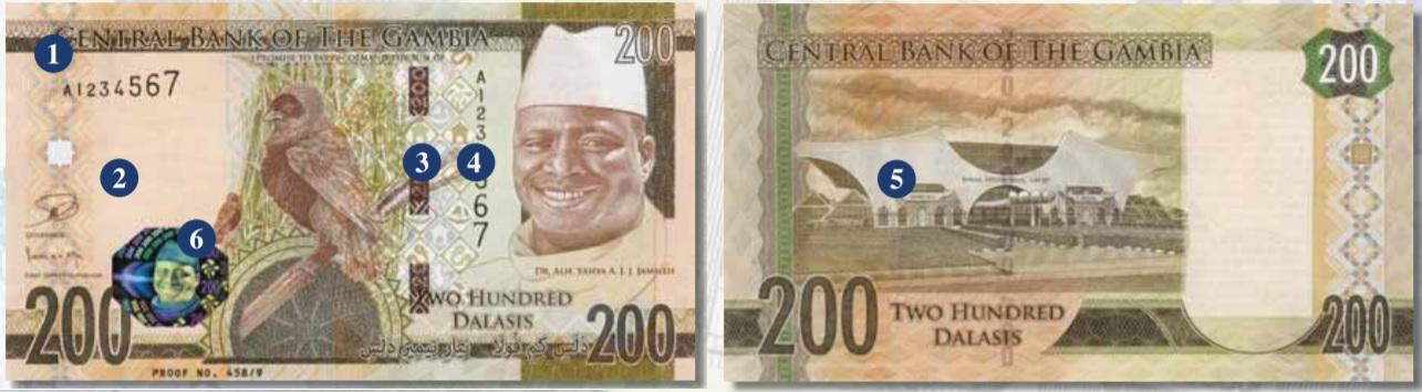 Billete de 200 dalasis de Gambia
