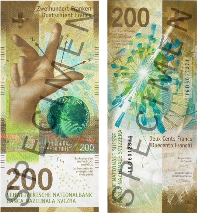 Billete de 200 francos suizos vertical
