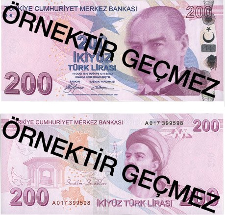 Billete de 200 liras turcas 2019 (200 TRY)