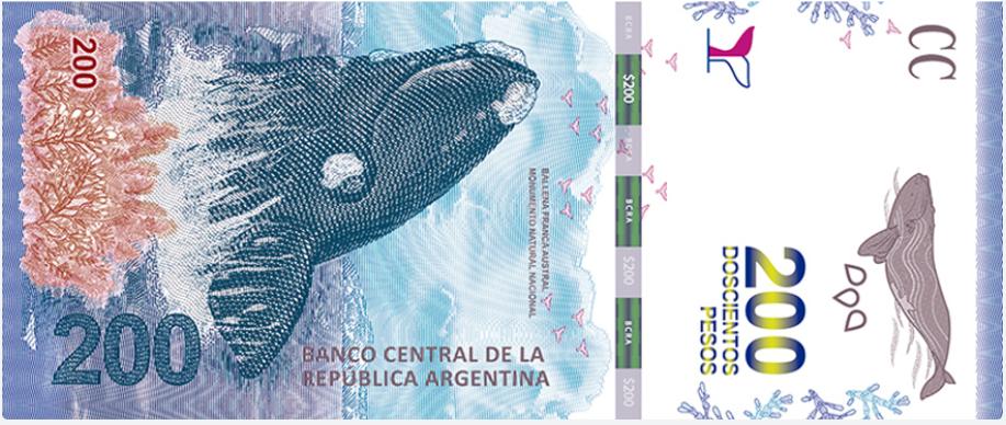 Billete de 200 pesos argentinos anverso