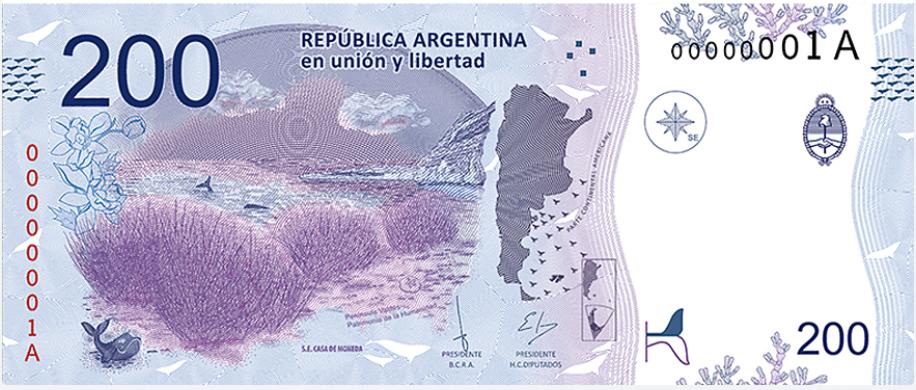 Billete 200 pesos argentinos 200 ARS reverso