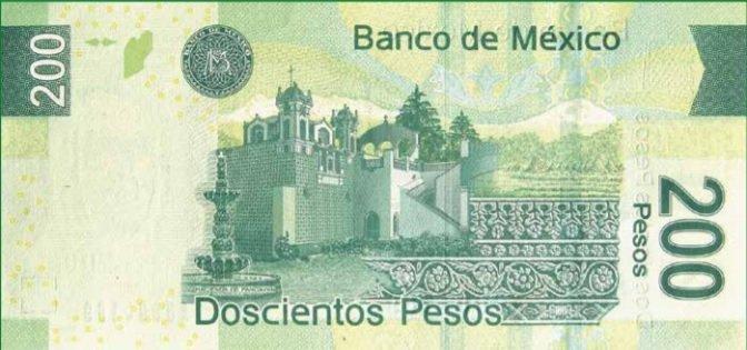 Billete de 200 pesos mexicanos 200 MXN reverso
