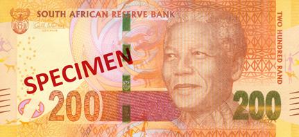 Billete de 200 rand frontal con la efigie de Nelson Mandela