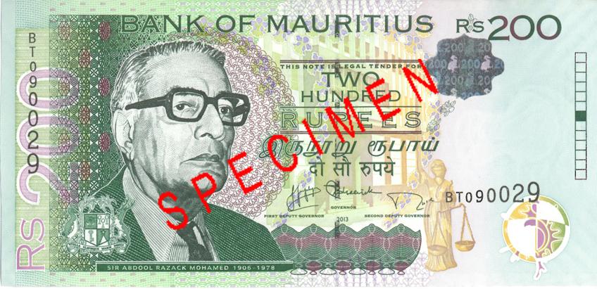 Billete de 200 rupias de Mauricio Rs200 anverso