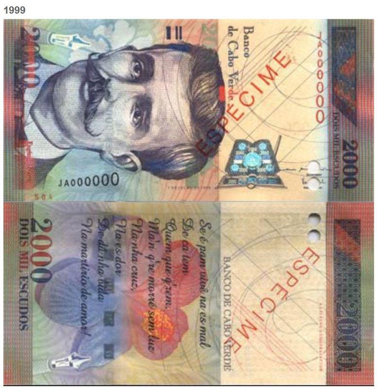 Billete de 2000 escudos de Cabo Verde 2000 CVE de 1999