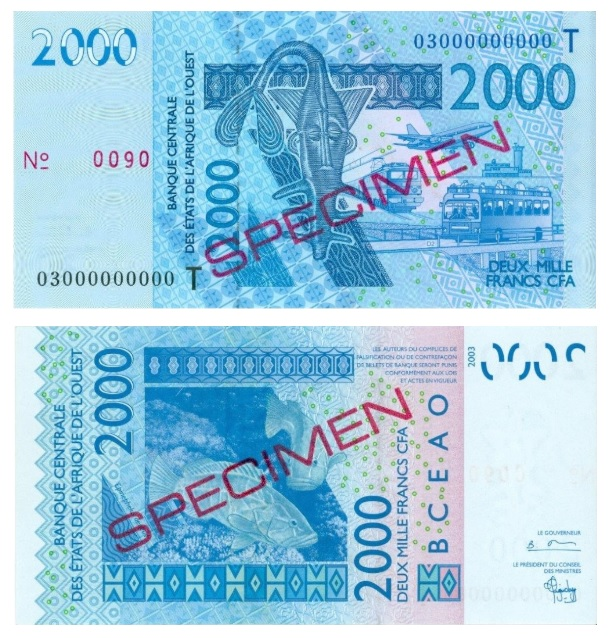 Billete de 2000 francos CFA