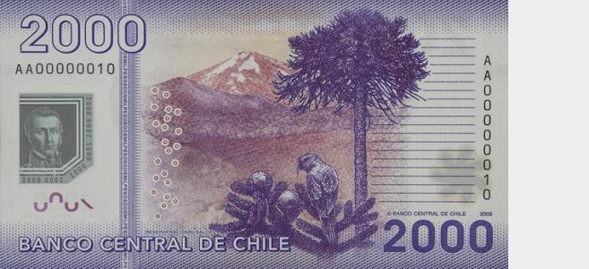 Billete de 2000 pesos chilenos reverso