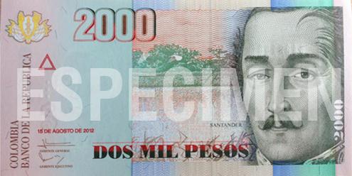 Billete de 2000 pesos colombianos 2006