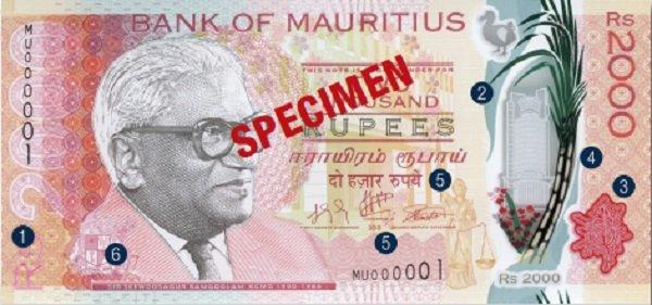 Billete de 2000 rupias de Mauricio Rs2000 anverso