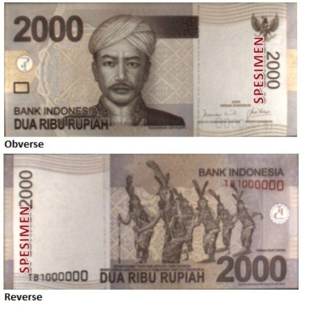 Billete de 2000 rupias indonesias IDR