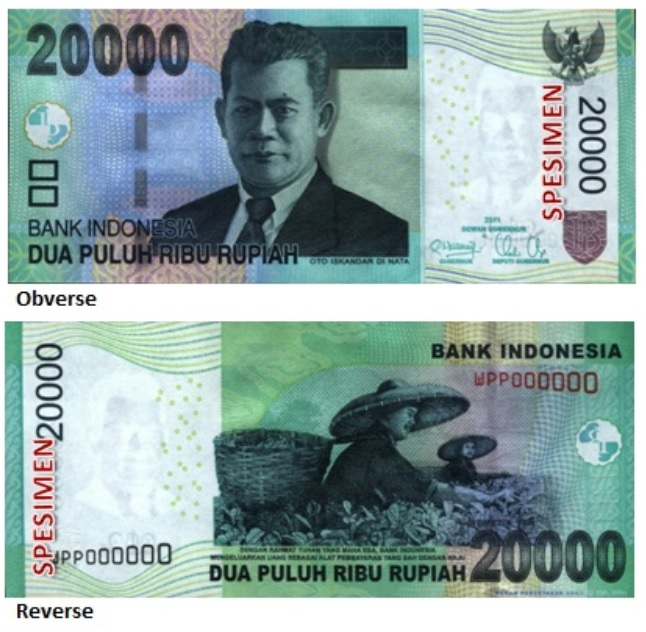 Billete de 20000 rupias indonesias IDR