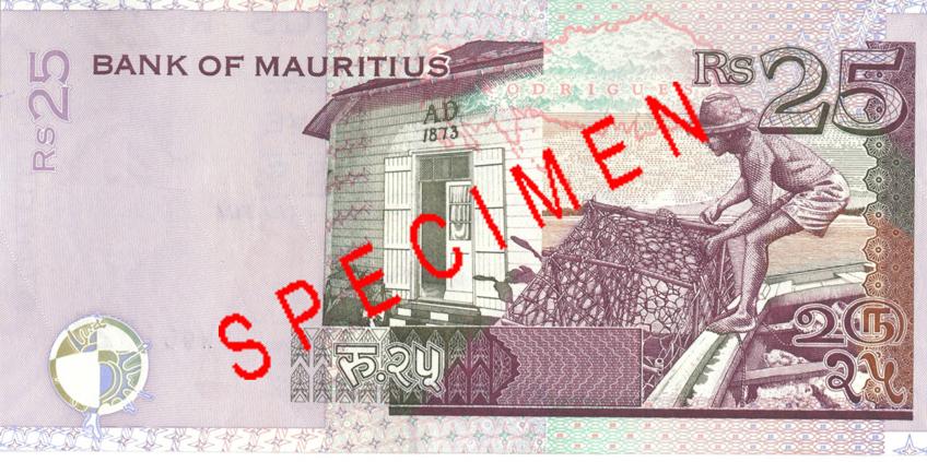 Billete de 25 rupias de Mauricio Rs25 reverso