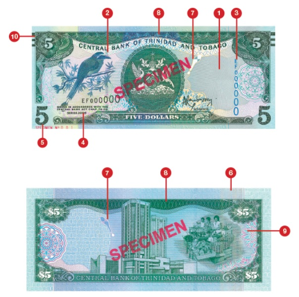 Billete de 5 dólares trinitenses TTD