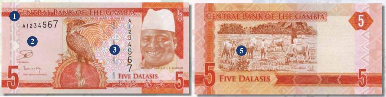 Billete de 5 dalasis de Gambia