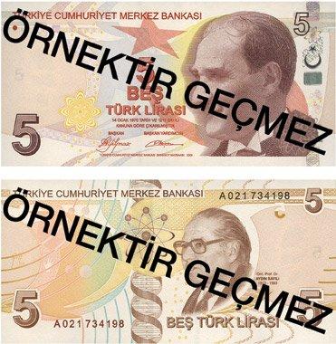 Billete de 5 liras turcas 2019 (5 TRY)