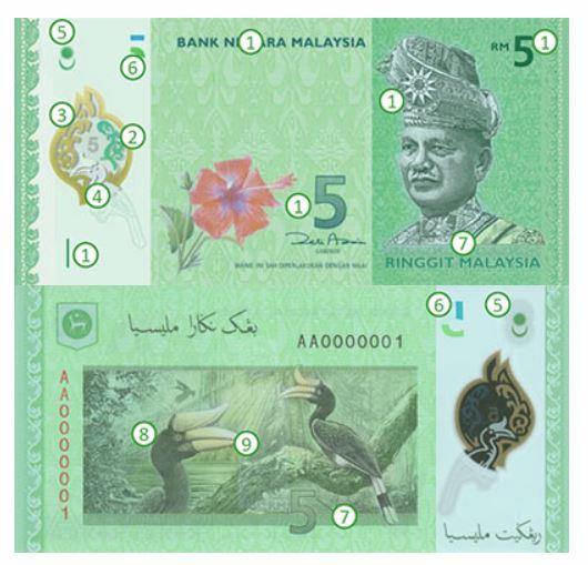Billete de 5 ringgit malayos RM5