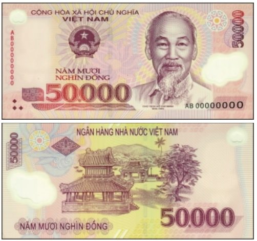 Billete de 50 000 dongs vietnamitas VND