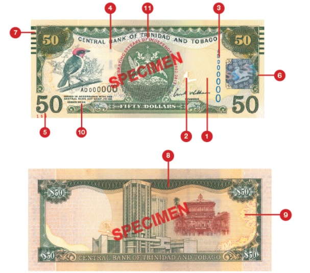 Billete de 50 dólares trinitenses TTD