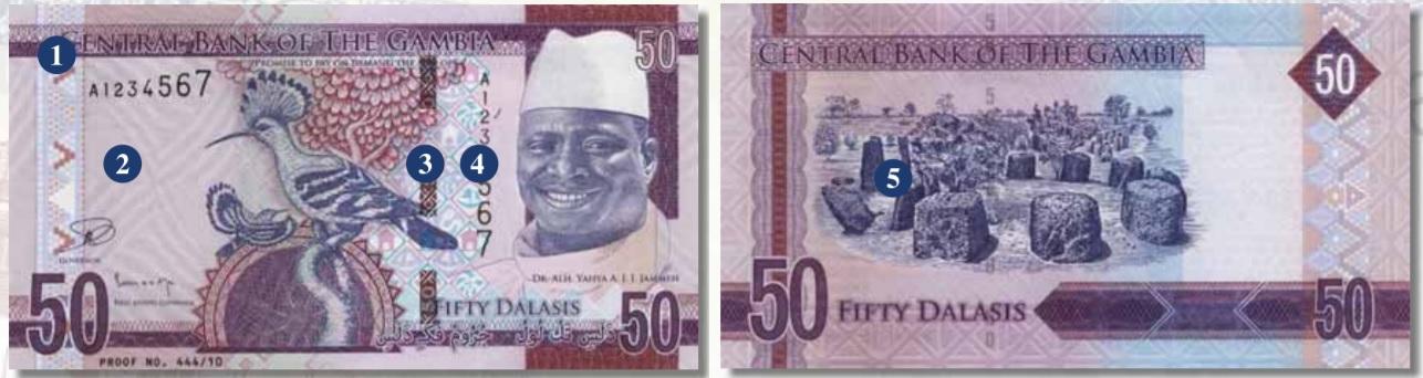 Billete de 50 dalasis de Gambia