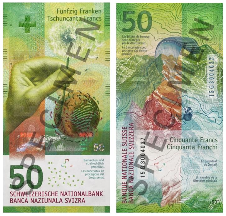 Billete de 50 francos suizos vertical