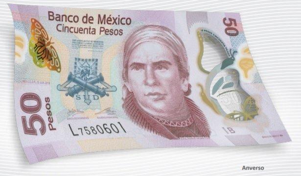 Billete de 50 pesos mexicanos 50 MXN anverso
