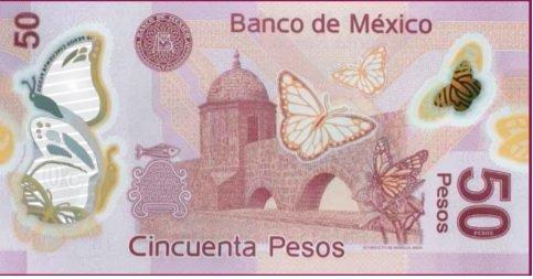 Billete de 50 pesos mexicanos 50 MXN reverso