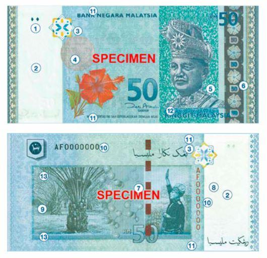 Billete de 50 ringgit malayos RM50