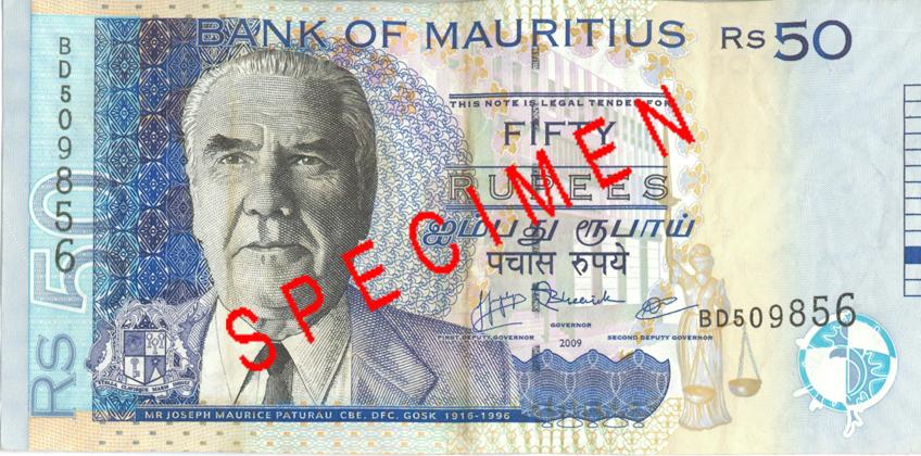 Billete de 50 rupias de Mauricio Rs50 anverso
