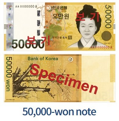 Billete de 50.000 wones coreanos (50.000 KRW)