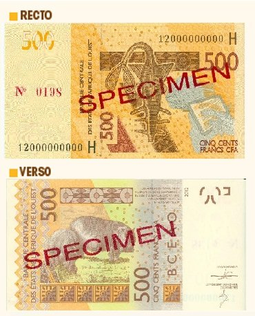 Billete de 500 francos CFA
