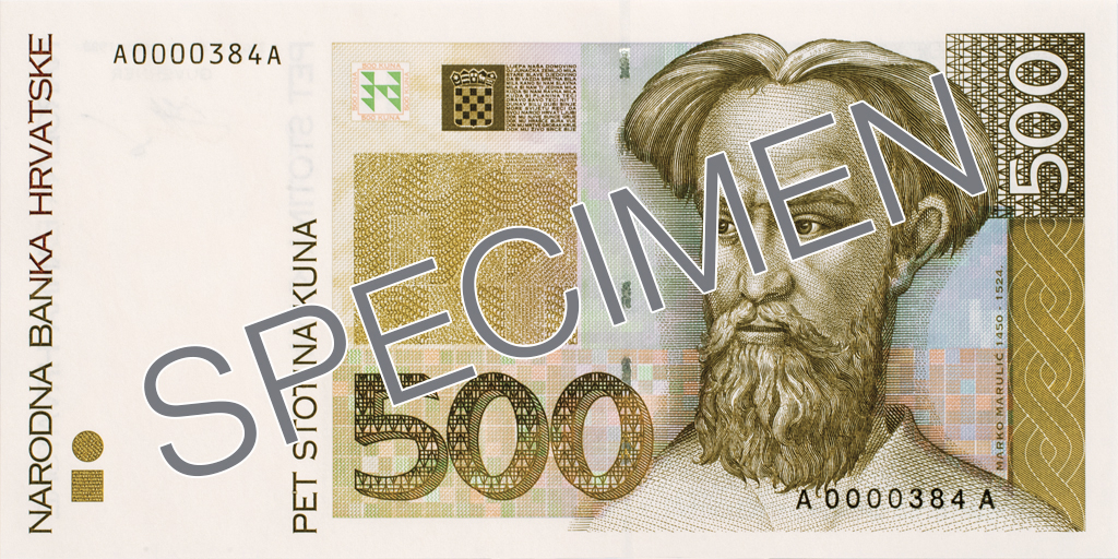 Billete de 500 kunas 500 HRK anverso