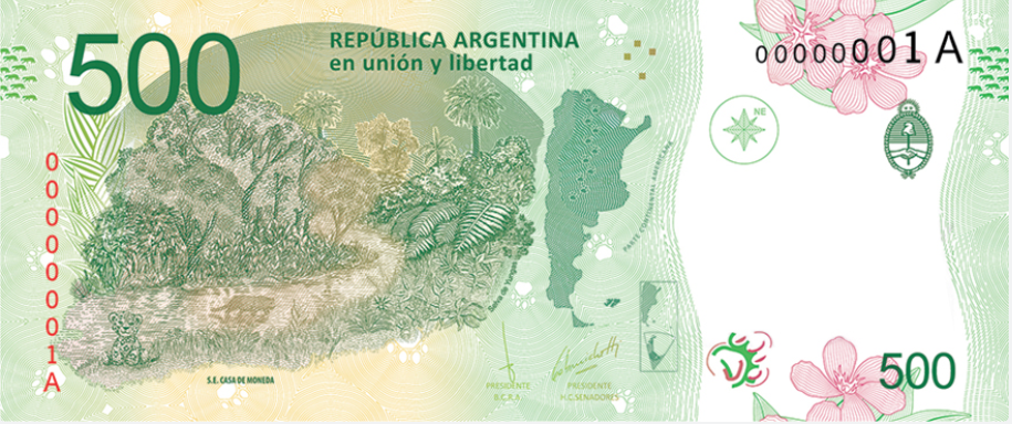 Billete 500 pesos argentinos 500 ARS reverso