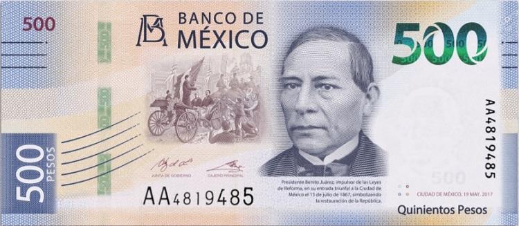 Billete de 500 pesos mexicanos 500 MXN anverso