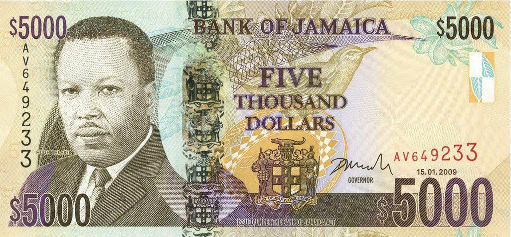 Billete de 5000 dólares de Jamaica