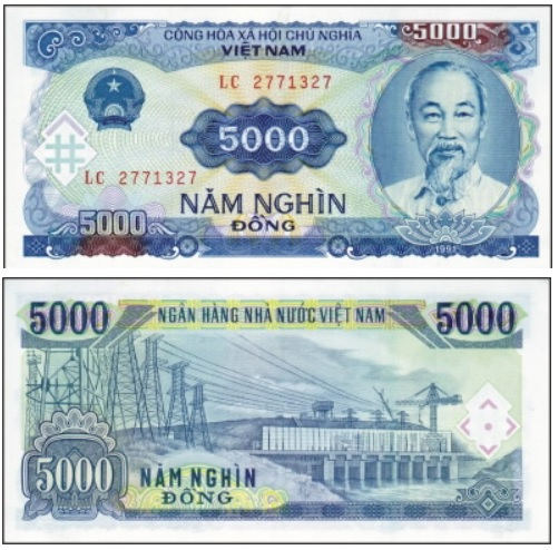 Billete de 5000 dongs vietnamitas VND