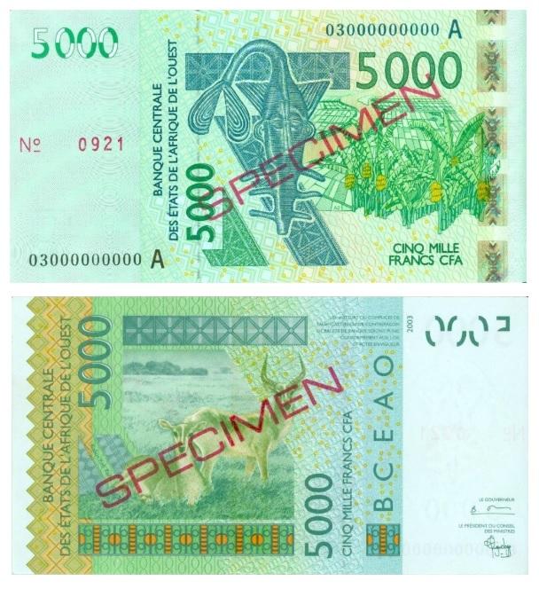 Billete de 5000 francos CFA