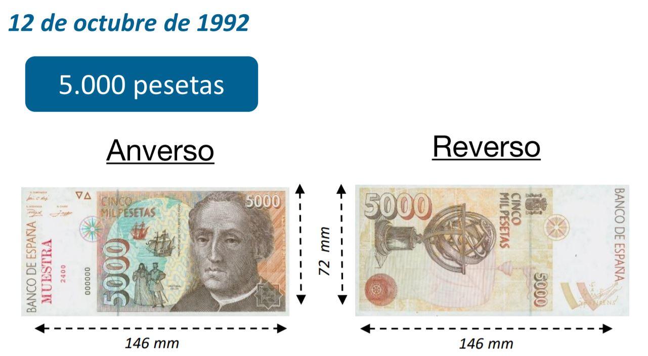 Billete de 5000 pesetas octubre 1992