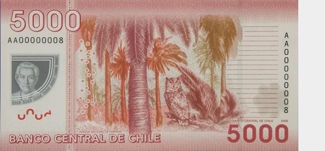 Billete de 5000 pesos chilenos reverso