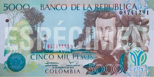 Billete de 5000 pesos colombianos 1995