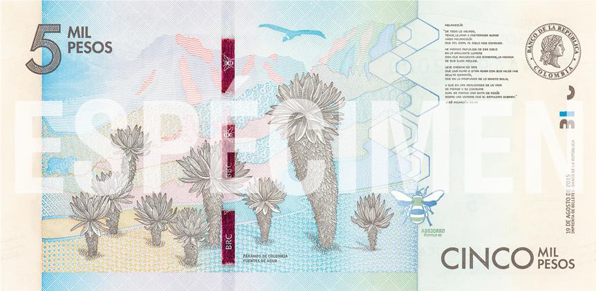 Billete de 5000 pesos colombianos reverso